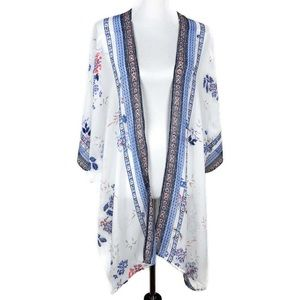 DR2 Daniel Rainn Floral Kimono S/M White Blue Boho